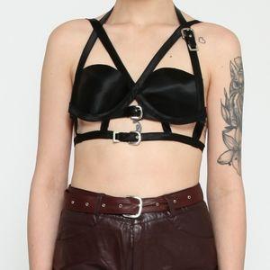 Black harness satin bra with buckles
